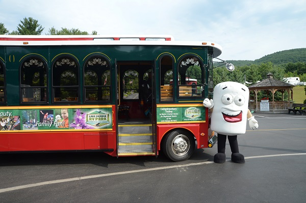 Our Mascot Toasty with the Trolley