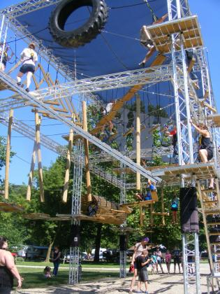 Ropes course, challenge course rock climbing wall zipline