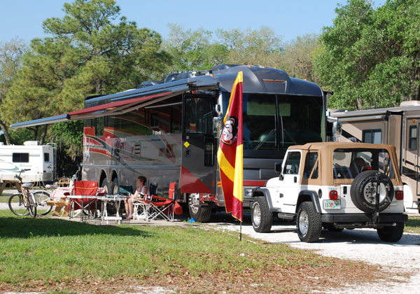 Spacious RV sites with 50 amp service