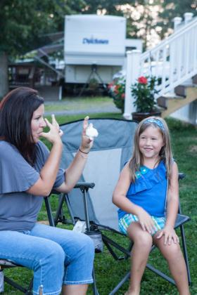 Roasting marshmallows at the Double G RV Park