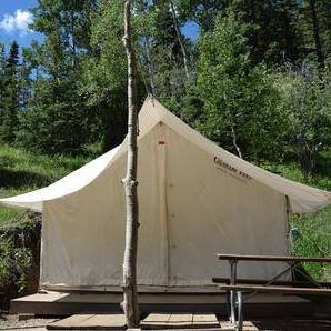 Glamping safari tent at Aspen Acres Campground in Rye Colorado