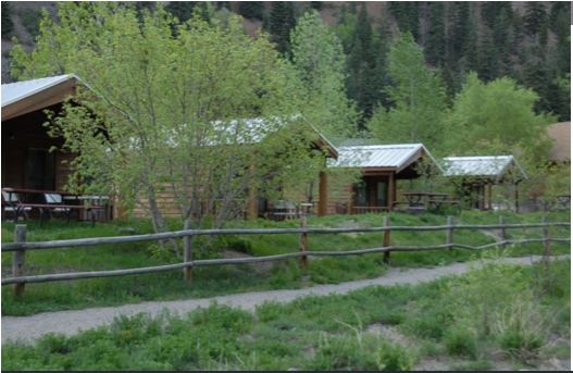 RV campsites and vacation rental cabins at Ouray RV Park & Cabins in Ouray Colorado, alongside the Uncompahgre River