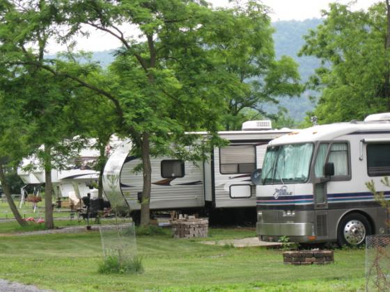 Spacious shaded full hook-up RV sites