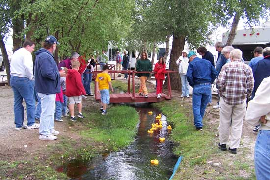 Duck races on holiday weekends at Chalk Creek Campground