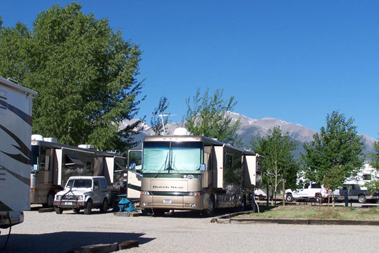 Awesome mountain views and room for the biggest of rigs at Chalk Creek Campground