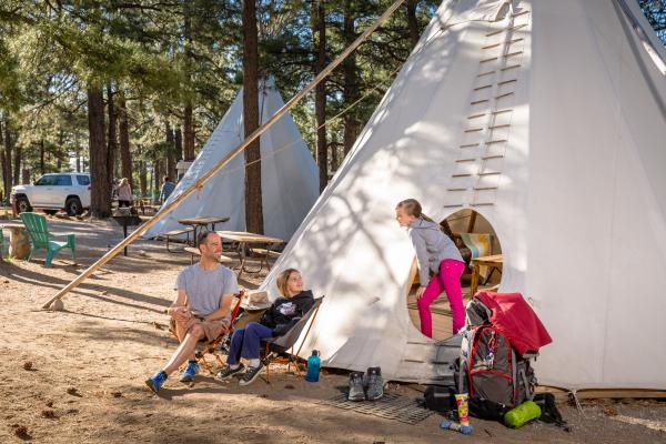 Authentic Teepees in Flagstaff, Arizona Campground at the Flagstaff KOA
