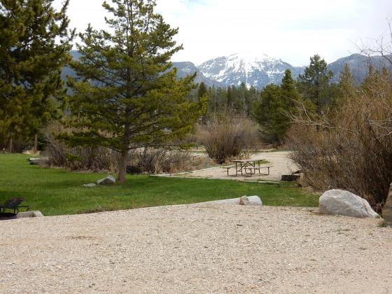 Beautiful Views of Mount Baldy from an RV site at Elk Creek Campground & RV Park in Grand Lake Colorado