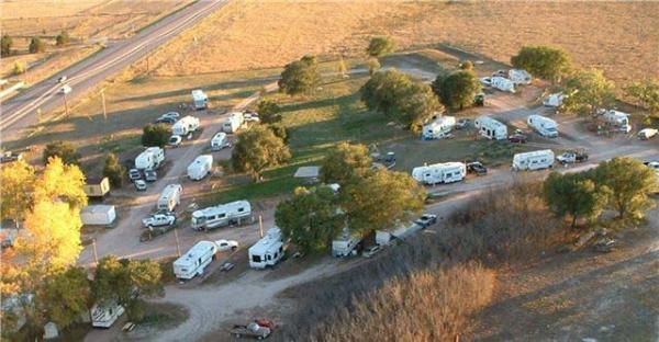 Bird's-eye view of Falcon Meadow RV Campground in the fall - near Colorado Springs