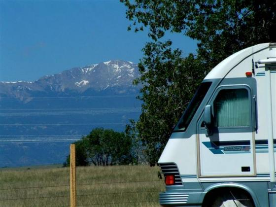 Stunning view of Pikes Peak from Falcon Meadow RV Campground - near Colorado Springs