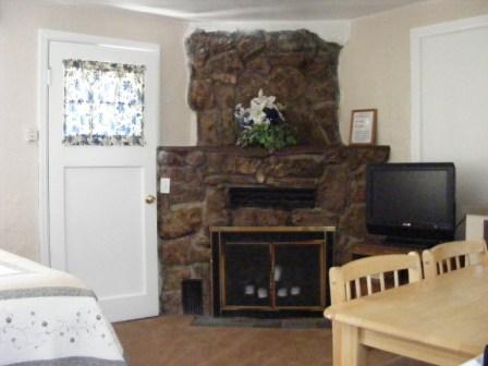 Interior shot of a rental cabin at Fireside Cabins & RV Park near Loveland Colorado