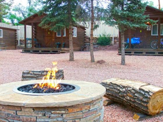 What a fun setting with cabins for rent at Garden of the Gods RV Resort! ~ Colorado Springs CO