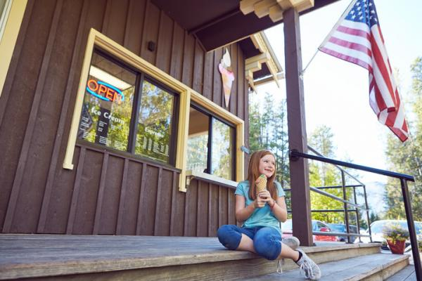 Enjoy a well deserved ice cream cone at the famous West Glacier Cafe