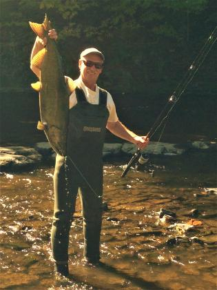 The fishing is awesome in the Little Salmon River at Jellystone Park in Mexico, NY