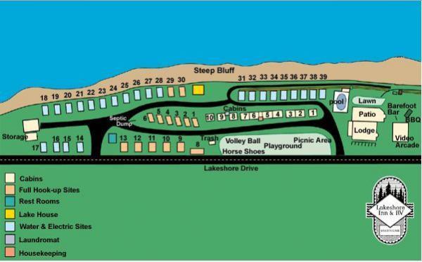 Lakeshore Inn & RV Grounds Site Map