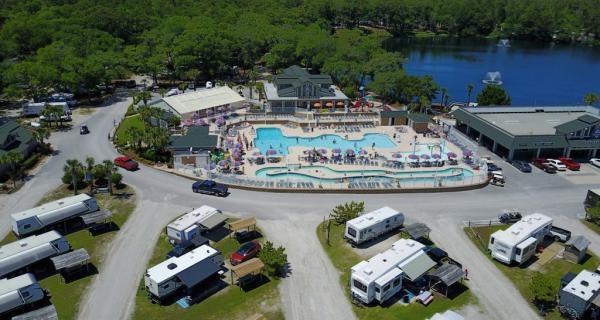 Myrtle Beach Travel Park pool, arcade