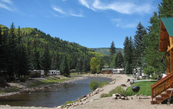 Beautiful riverside cabins at Priest Gulch Campground