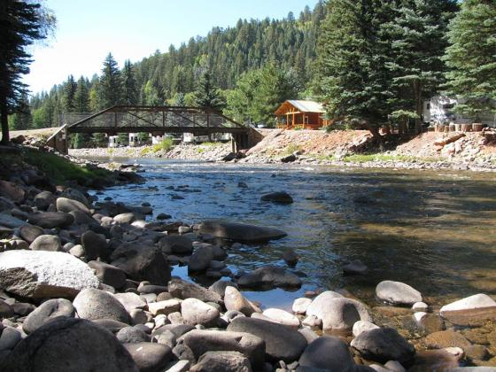 Riverfront cabins at Priest Gulch Campground