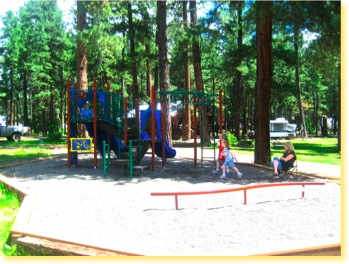 Great play area for kids at Sportsman's Campground and Mountain Cabins, north of Pagosa Springs Colorado