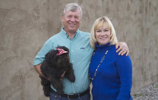 Our friendly managers, Terry & Deb and their little dog, Moe.